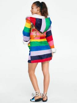 NEW Victorias Secret PINK Robe Rainbow Bling Sherpa Lined Hood M/L