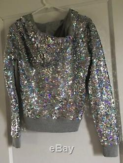 NEW Victorias Secret Pink FASHION SHOW SEQUINS Hoodie Sweatshirt Jacket XS Bling