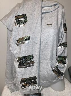 NWT Victoria secret pink Sequin bling SET Skinny Jogger Camo Bling Hoodie L