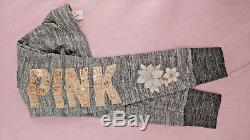 VICTORIAS SECRET PINK Perfect Zip Hoodie & Jogger Pant Floral Gray Gold Bling XS