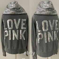 Victoria's Secret PINK Bling Hoodie+Pant Grey/Silver Sequin Python Large L NEW
