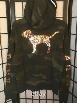 Victoria's Secret Pink Camouflage Camo Rose Gold Bling Perfect Full Zip Hoodie