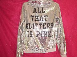 Victorias Secret PINK Hoodie Sweatshirt Jacket Sequin Silver Bling X Small Nwt