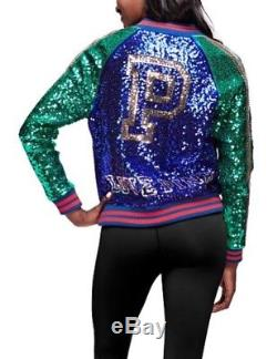 Victorias Secret PINK Sequin Bling Bomber Jacket 2017 Holiday Edition Sold Out-L