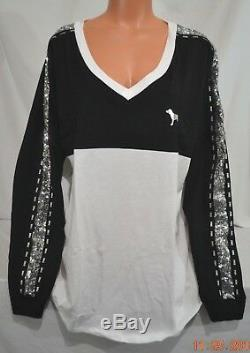 Victorias Secret Pink SEQUIN Bling Slouchy Varsity V NECK Crew Top NWT XL